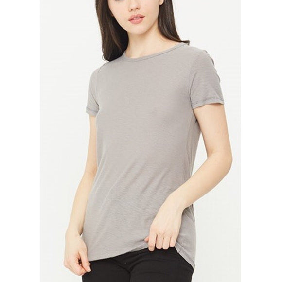 Malibu Light Grey Crew Neck T-Shirt by Comune C19X96-Fig Tree Jewelry & Accessories