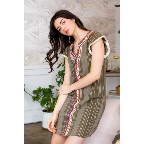 Viv Stripe Shift Dress With Crochet Trim THML