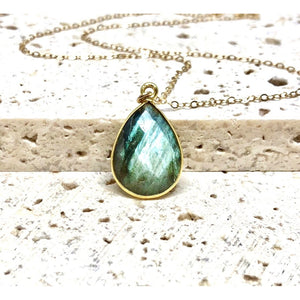 Maya Labradorite Bezel Pendant Necklace-Fig Tree Jewelry & Accessories