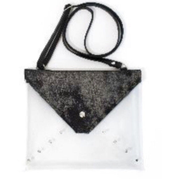Brena B Game Time Clear Dark Silver Shimmer Crossbody