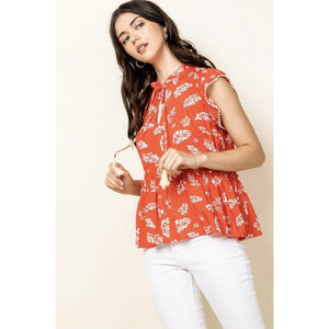 Melina THML Leaf Print Top with Tassel Tie WCT726