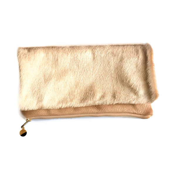 Cleo P Camel Cowhide Leather Clutch Handbag