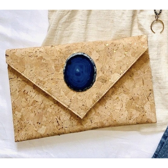 Amia Cork Blue Agate Clutch Crossbody Handbag