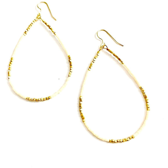 Addie Cream & Gold Beaded Drop Earrings
