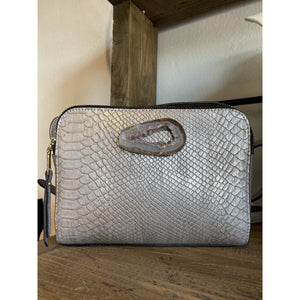 Ava Silver Snakeskin Box Crossbody Agate Handbag-Fig Tree Jewelry & Accessories