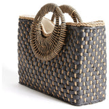 San Sebastian Black Woven Top Handle Tote