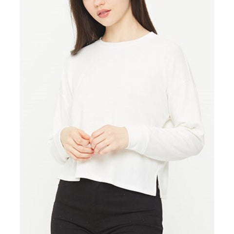Chelsea Ivory French Terry Cropped Crew Neck by Comune C19L66
