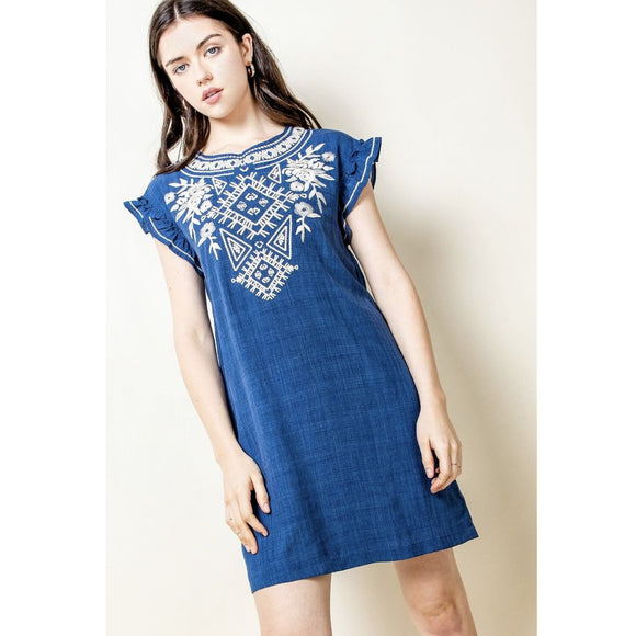 Alisha THML Embroidered Flutter Sleeve Blue Dress THS0802