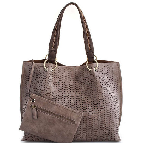 Chloe Deep Grey Vegan Tote Handbag Street Level