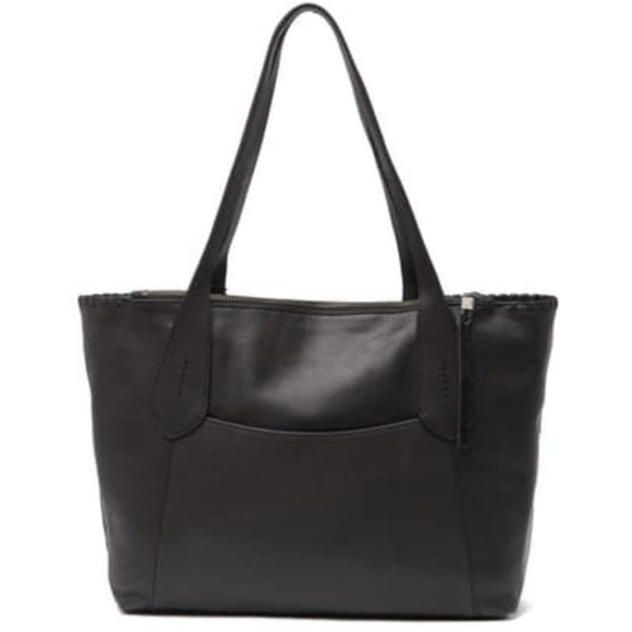 Heritage Leather Black Tote Handbag by The Sak