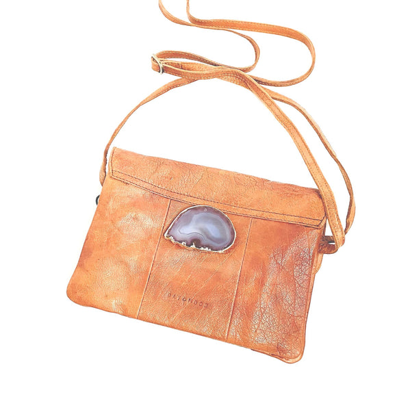 Hazel Agate Brown Leather Crossbody Handbag