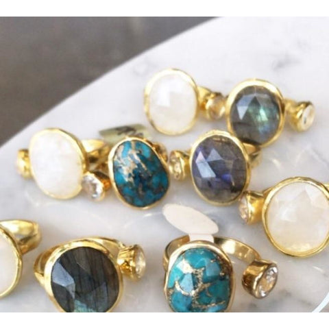 Amia Gold Labradorite Double Ring