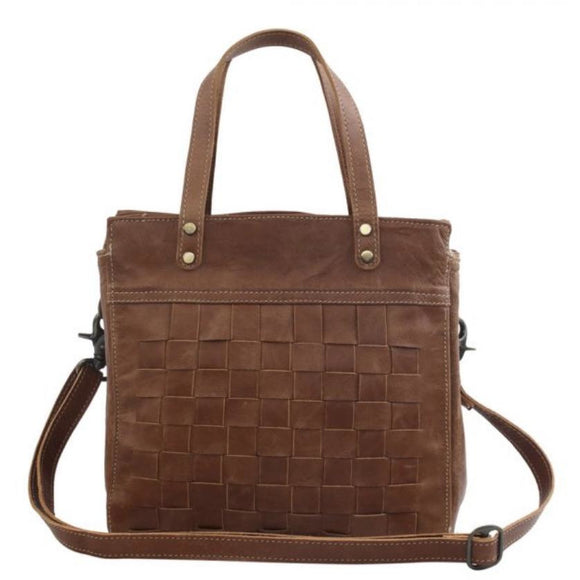 Claire Brown Woven Square Leather Tote
