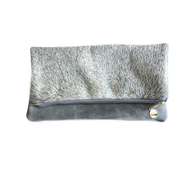 Cleo P Grey Cowhide Leather Clutch Handbag-Fig Tree Jewelry & Accessories