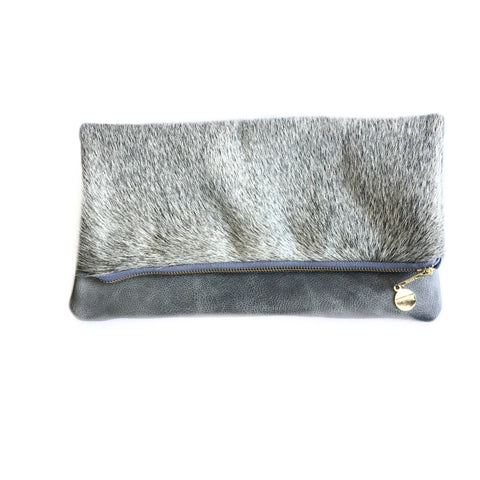 Cleo P Grey Cowhide Leather Clutch Handbag