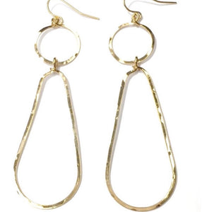 Bella Circle and Drop Hammered Gold Earrings