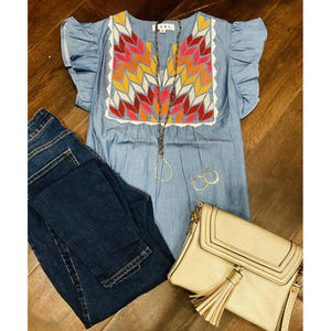 Anise THML Chambray Blue Embroidered Top