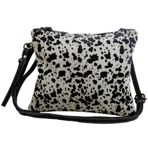 Brio Black & Grey Animal Print Cowhide Crossbody Handbag