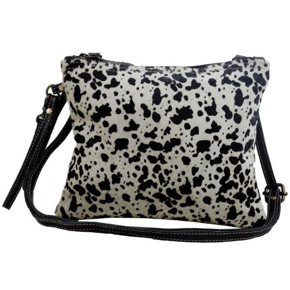Brio Black & Grey Animal Print Cowhide Crossbody Handbag-Fig Tree Jewelry & Accessories