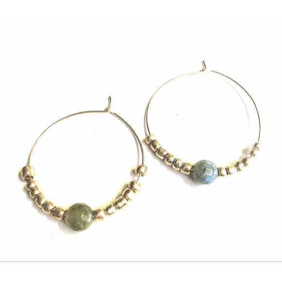Addie Single Labradorite Gold Hoop Beaded Earrings