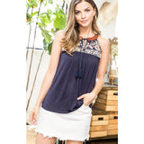 Quinn Blue THML Halter Embroidered Top