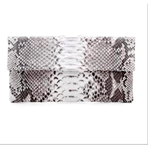 Abria Natural Python Clutch Handbag