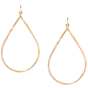 Bella Hammered Pear Gold Earrings