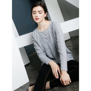 Liza Grey Long Sleeve Ebroidered Top