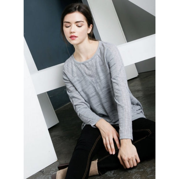 Liza Grey Long Sleeve Ebroidered Top-Fig Tree Jewelry & Accessories