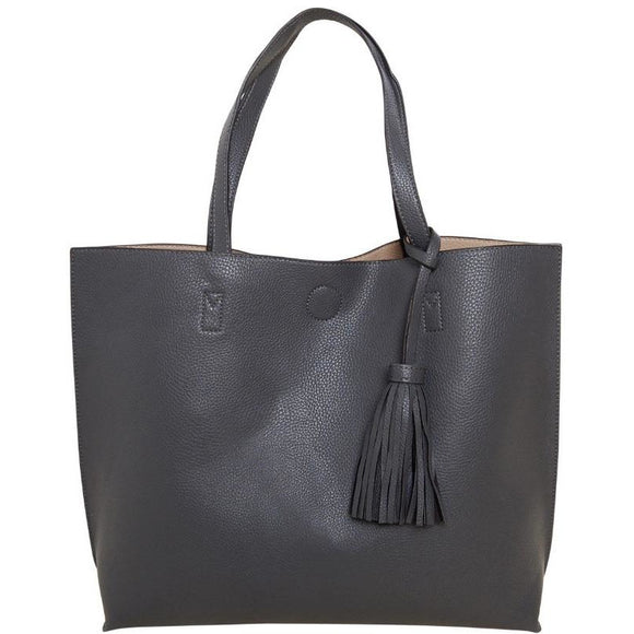 Chloe Black Tassel Tote with Crossbody Inside Handbag