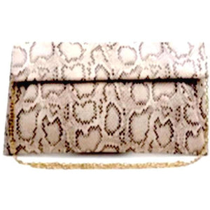 Emilia Cream Multi Print Python Vegan Clutch Crossbody Handbag