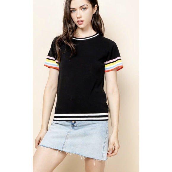 Abello Black THML Color Stripe Sleeve Top