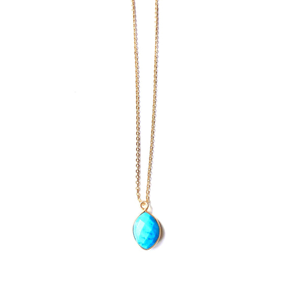 Grace Turquoise Drop Gold Necklace