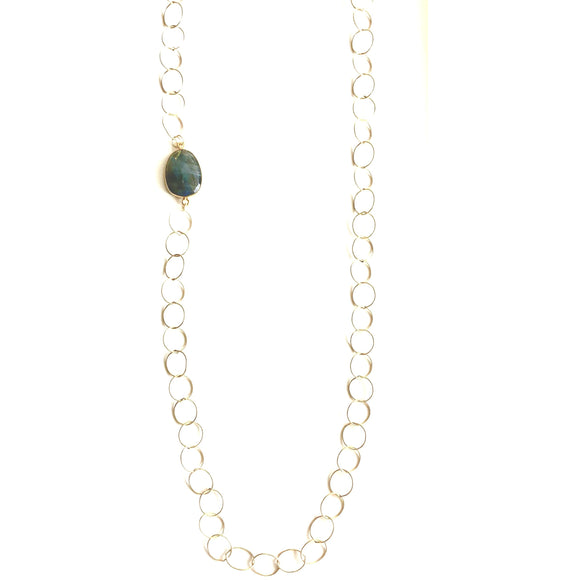 Bella Labradorite Circle Chain Necklace