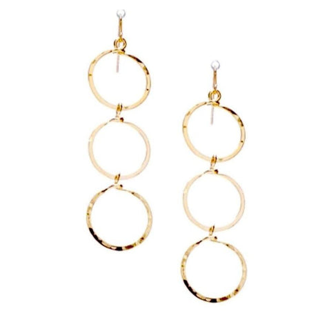 Bella Triple Hammered Gold Circle Earrings