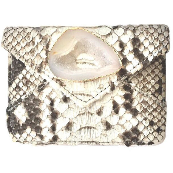 Bria Real Python Agate Card Holder