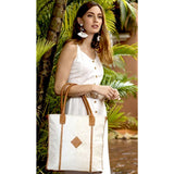Amara Light Tan Cowhide Leather Woven Tote