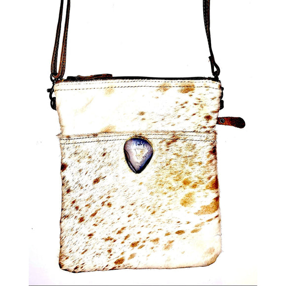 Lara Large Gold Agate Clutch Crossbody Handbag