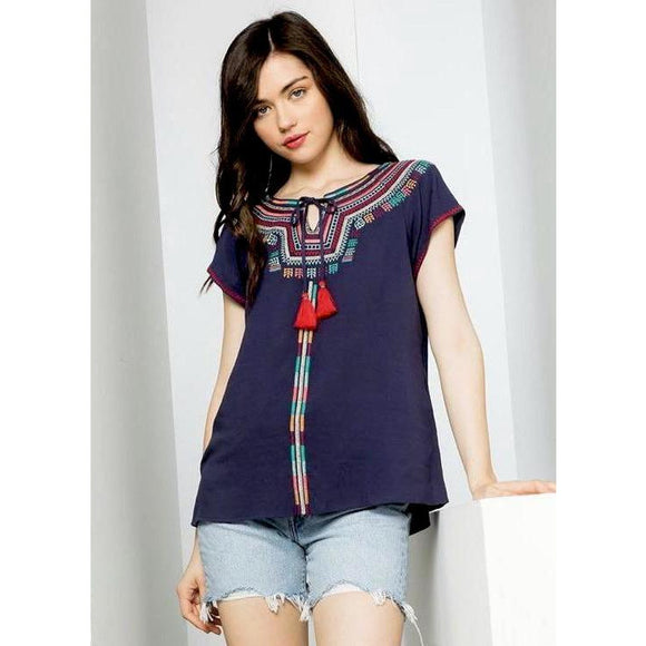 Kendra THML Embroidered Short Sleeve Top FTM702