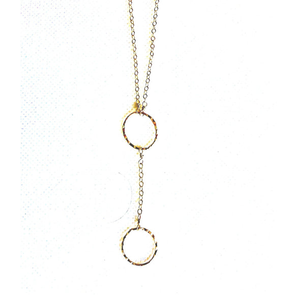 Bella Gold Hammered Circle Y Necklace