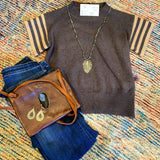 Diana THML Short Sleeve Rib Knit Top-Fig Tree Jewelry & Accessories