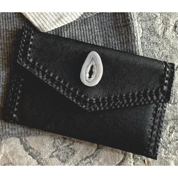 Ariana Agate Black Braided Detail Clutch
