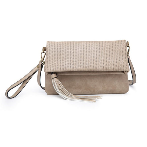 Jen Light Tan Tassel Foldover Crossbody Handbag