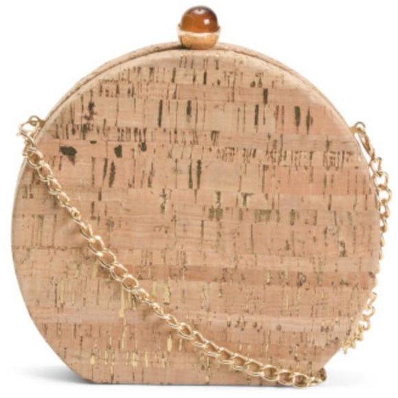Adel Cork Gold Accented Circle Chain Crossbody