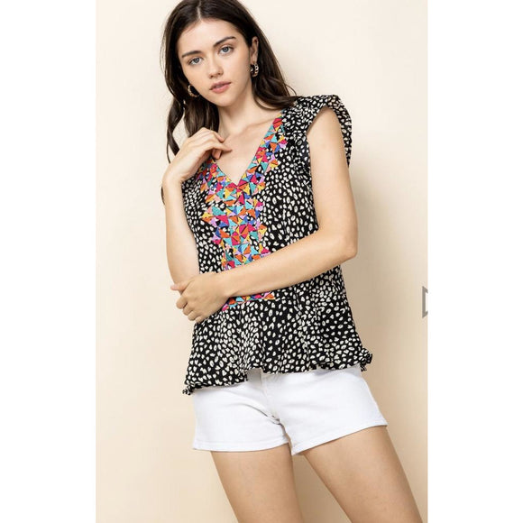 Brena Ruffle Animal Print THML Top