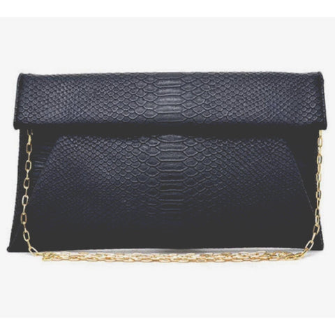 Emilia Python Black Vegan Clutch Crossbody Handbag
