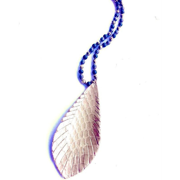Alyssa Gold Feather Necklace on Multi-beaded Chain