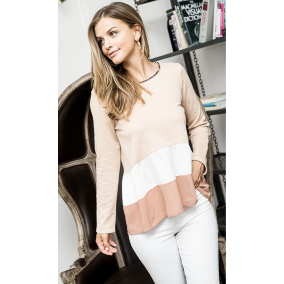 Cora Grey Blush Color Block Sweater THML FTM346
