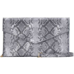 Abria Grey Python Vegan Clutch Crossbody Handbag-Fig Tree Jewelry & Accessories