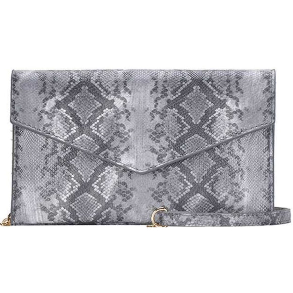 Abria Grey Python Vegan Clutch Crossbody Handbag
